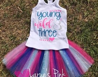 Young, WILD and Three Birthday Onesie & Tutu Skirt/ 3rd birthday tutu/ pink/ Blue tutu skirt
