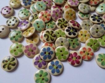 15mm Flower buttons, Wooden buttons, Buttons, Craft buttons, Sewing buttons, Scrapbooking, Flower, Flowers, Floral