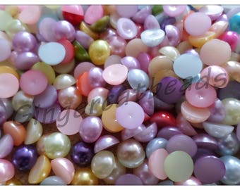Acrylic pearl cabochons, Cabochons, Flatback cabochons, Flatbacks, Pearl cabochons, Acrylic cabochons, Round, Pearl, 8mm, Multicolour