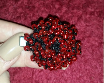Black Flower/Red Glass Bead Hairclip