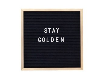 GOLD 10 x 10 inch Slotted Felt Letter Board with 3/4 inch 290 piece Letter Set