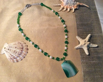 Stunning Necklace Made with Emerald, Freshwater Pearls & Features a Green Striped Agate Pendant