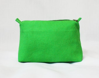 Green canvas pouch, travel pouch, cosmetic bag, makeup bag