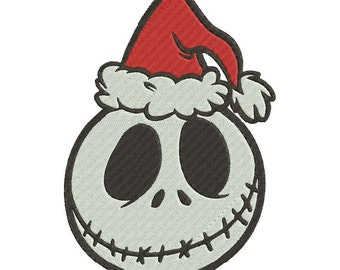 Jack Skellington Christmas Embroidery Design Fill Stitch 3 sizes instant download