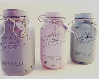 Beautiful Hand painted Mason Jars