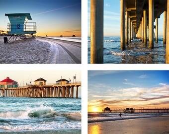 "Huntington Beach Photo Set   ""At the Pier""   Beach Wall Art Set   Blue and Orange Beach Set - 8x10 Print Set - 11x14 Print Set - Beach Gift"