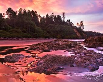 "Olympic Beach Photo | ""Ruby Beach Sunrise"" | Pink Beach Wall Art | Washington Beach Wall Art | Olympic National Park | Ruby Beach Print"