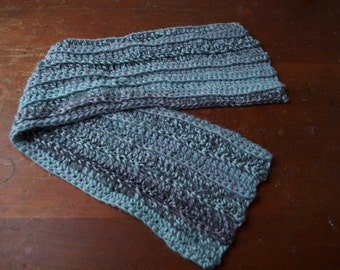 Super Soft Crochet Ribbed Scarf - Blue, Purple, and Gray