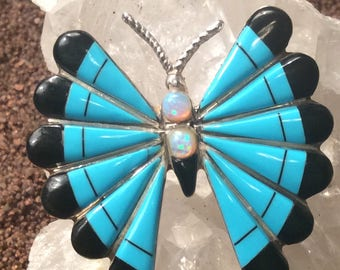 Turquoise Butterfly Necklace Vintage and/or Brooch Native American Sterling Silver