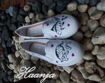 In love - hand painted shoes