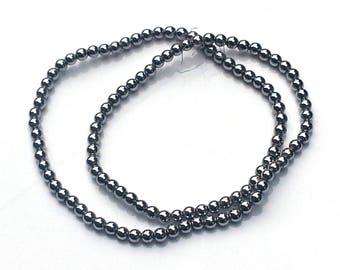 Silver hematite beads - hematite beads - 4mm beads - round beads - gemstone beads