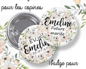 10 Badges EVJF rond grand format en métal - 44mm - personnalisable - modèleromantique, fleuri, shabby- enterrement de vie de jeune fille