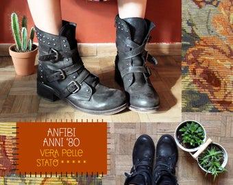 Amphibians years 80/boots buckles/amphibians glamrock/genuine leather/39