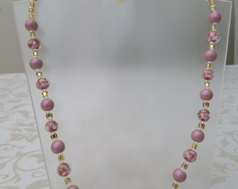 Pink Murano glass and pink glass pearl necklace