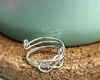 Silver Love Knot Wire Ring