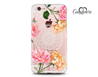 iPhone 7 case, iPhone 7 Plus case, Clear cases, Rubber cases, iPhone 6s case, iPhone 6 case, Galaxy cases, Galaxy S8 case, Roses on Mandala