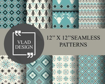 8 Blue pixels geometric paper pack Winter patterns Abstract Blue patterns Snowflakes pixel patterns Deer pixel patterns Digital paper pack