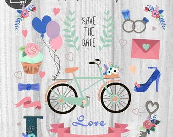 23 Wedding Elements Wedding Clipart Love Clipart Digital Wedding Elements Wedding graphics Hearts clipart Romantic clipart Bicycle Balloons