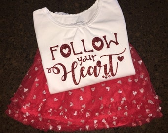Toddler Girl Valentine's Day Shirt, Valentine's Day Outfit, Follow Your Heart, Forever Mommy's Valentine Shirt, Valentine's Day Shirt