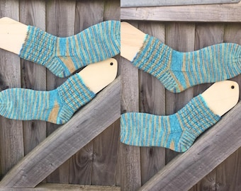 Womens hand knitted long socks made to order