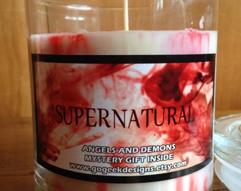 22oz Supernatural Angels and Demons scented 100% soy wax candle with a mystery prize inside!