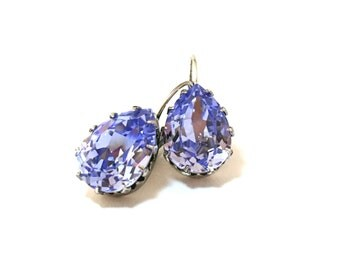 French Lavender Swarovski Crystal Earrings in Antique Silver Leverback
