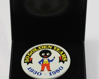Large Robertson's '50 Golden Years 1930 - 1980' golly button badge.