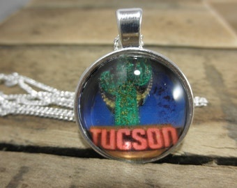 Tucson Arizona Pendant Necklace, Arizona Necklace, Tucson Necklace, Tucson Arizona, Tucson Jewelry, Arizona Jewelry, Tucson AZ, Custom AZ