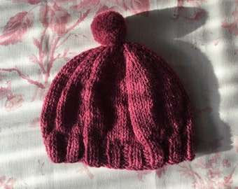 Hand knitted wool baby hat