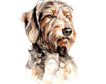 Dog custom portraits commission pet painting dachshund wall art animal watercolor artwork dog, cat, horse memorial fine art portrait pet art