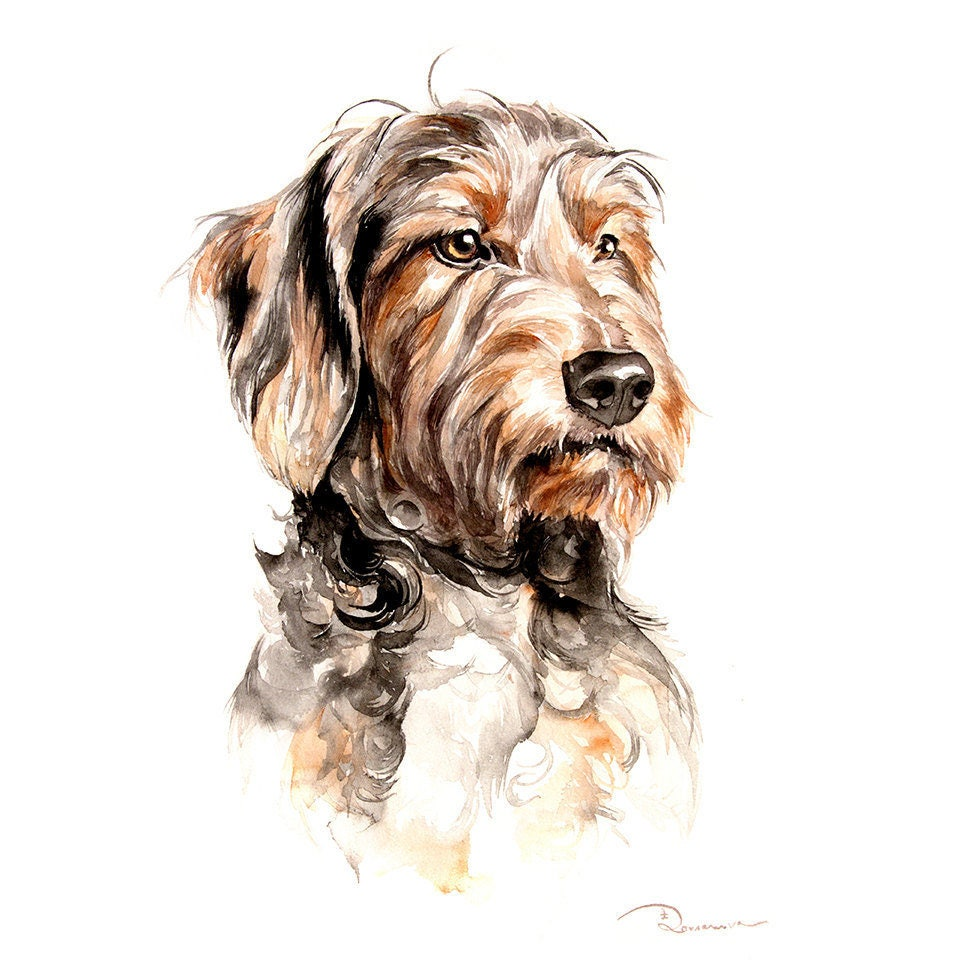 Dog custom portraits commission pet painting dachshund wall for Painting of your dog