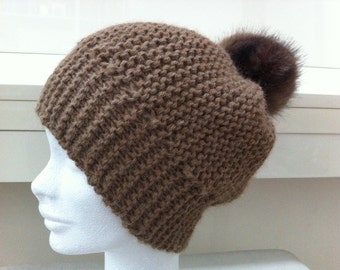 Light brown hat in Alpaca with tassel