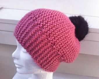 Very soft pink Alpaca with Brown tassel Hat