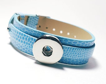 NOOSA genuine leather bracelet blue wrist cuff for snap button charm chunky personalize customize interchangeable focal jewelry supply diy