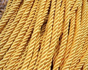 8mm Gold Satin twist cord, Gold decoration trim (5yards) Gold cord,braided Shiny Cord Choker Thread Twine String Rope Piping Supplies