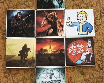 Fallout New Vegas themed tile coasters set of 4 or 2 mix and match