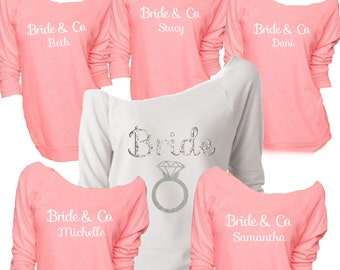 Bridesmaid Shirts Long Sleeve Bachelorette Party Off The Shoulder Set Bride And
