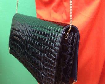 Clutch purse made in Italy. Bag crocodile print. Vintage clutch bag.