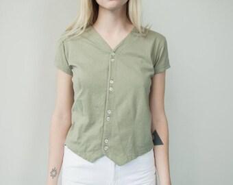 1990's Vintage Liz Claiborne Button Tee Women's Small