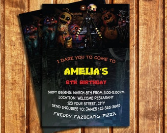 Five Nights At Freddy's Birthday Party Invitation, Five Nights at Freddy's Invitation, Five Nights at Freddy's Thank You Card | MFR_2