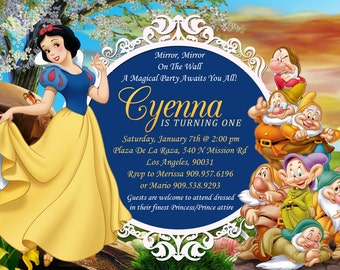 snow white birthday invitation snow white party invitation, Birthday invitations