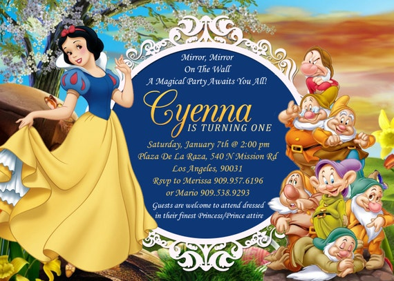 Snow White Seven Dwarfs Birthday Invitation Snow White