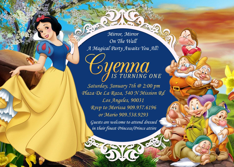 Snow White & Seven Dwarfs Birthday Invitation Snow White