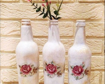 Shabby chic style Emma Bridgewater Rose and Bee decoupage bottle, roses, vintage style, home decor, Mother's Day, birthday, womens gift