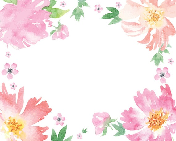 Watercolour Flower Frame Clipart Graphic Design PNG Vector