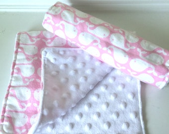 Burp Cloth Set, Baby Girl, Whales Pink - Set of Two (2)