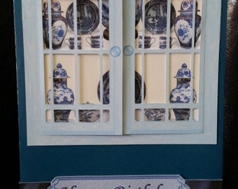 Happy Birthday-Blue and White China Cabinet with Opening Doors-Grandmother-Nanna-Mum-Sister-Aunt-Friend-Grandfather-Male-Female