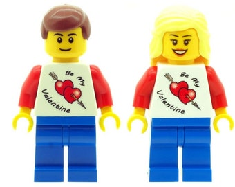 Custom Design Minifigures - Male & Female With Be My Valentine T-shirt (Jumper) Printed On LEGO Parts