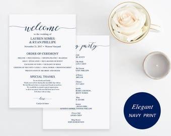 Navy Wedding Program Template, Printable Wedding Program, Ceremony Printable Template, Instant Download Editable PDF Modern #SPP008pr57