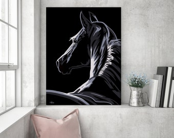 Gift for horse lover, horse painting, horse wall art, pop art horse canvas, horse art, horse gift, horse decor, horse pop art, wall art C01